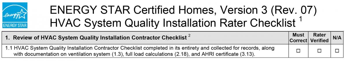 HVAC System Quality Installation Contractor (HVAC/C) Checklist Completed in its Entirety and Collected for Records
