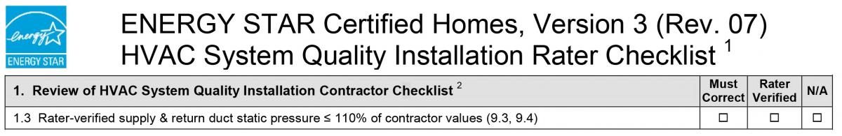 Rater-Verified Supply & Return Duct Static Pressure < 110% of Contractor Values
