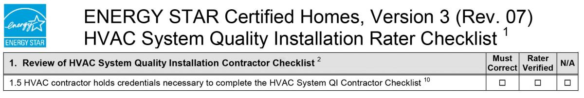 HVAC Contractor Holds Credentials Necessary to Complete the HVAC System QI Contractor Checklist