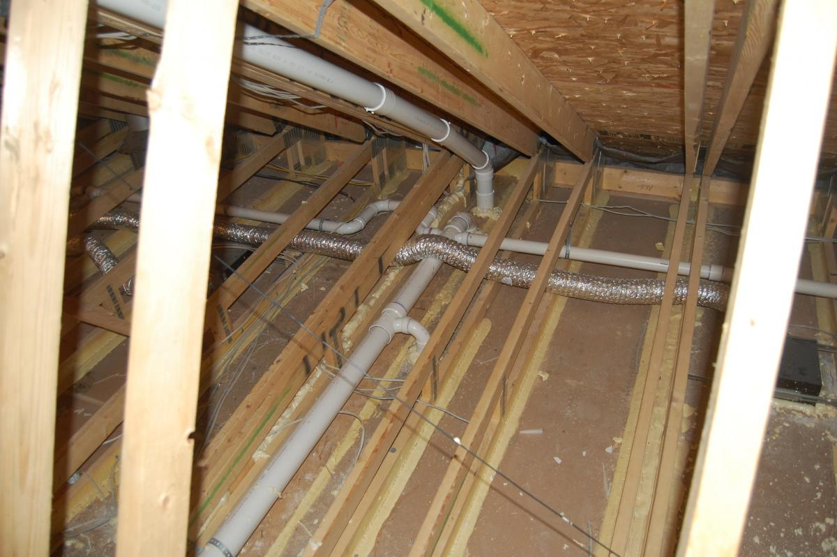 Ceiling gypsum board installed