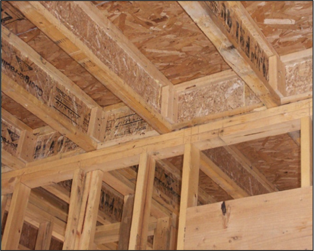 The I-joist is continuous along the shared wall and serves as a natural air barrier between the garage and the house