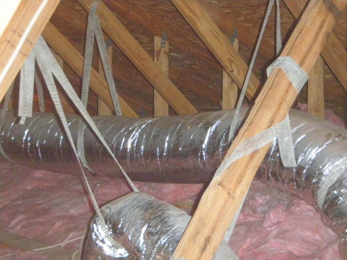 This duct is insulated with a minimum of R-8 insulation