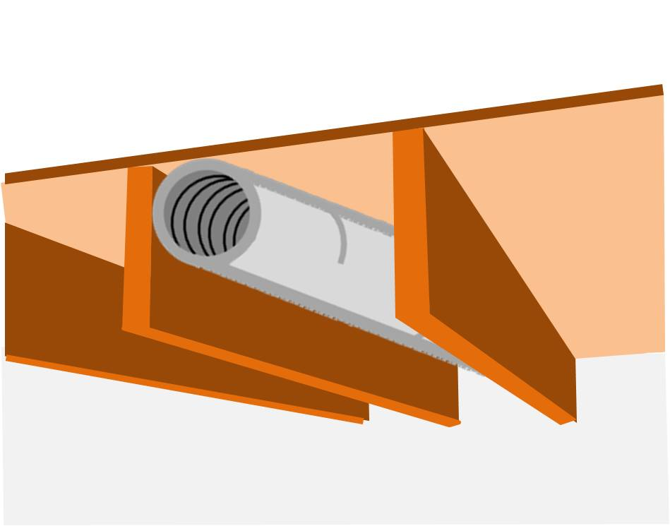 floor joist cavity used as duct chase