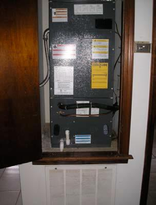 A door jamb and partial door are installed on the air handler closet