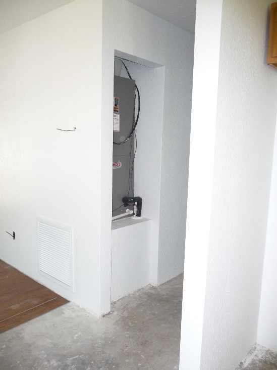 Air handler closet with side entrance return prior to door installation