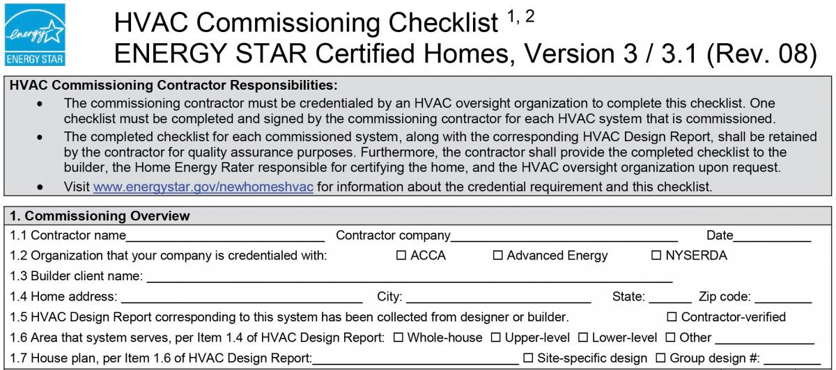 Information guide describing section 1 requirements in the ENERGY STAR HVAC Commissioning Checklist.