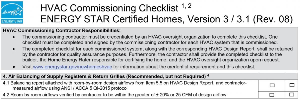 Information guide describing section 4 requirements in Version 3.0/3.1 Rev. 08 ENERGY STAR HVAC Commissioning Checklist.