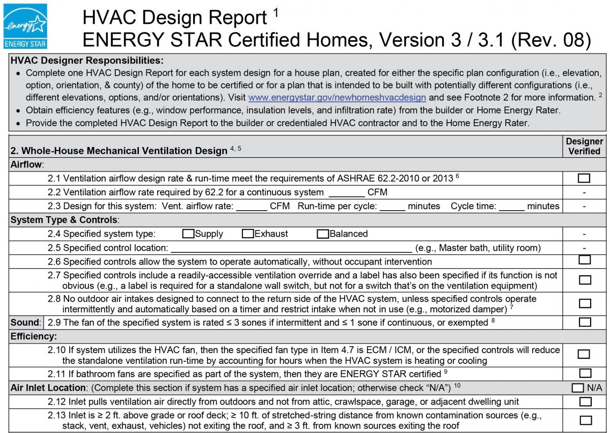 Information guide describing section 2 requirements in Version 3.0/3.1 Rev. 08 ENERGY STAR HVAC Design Report Checklist.