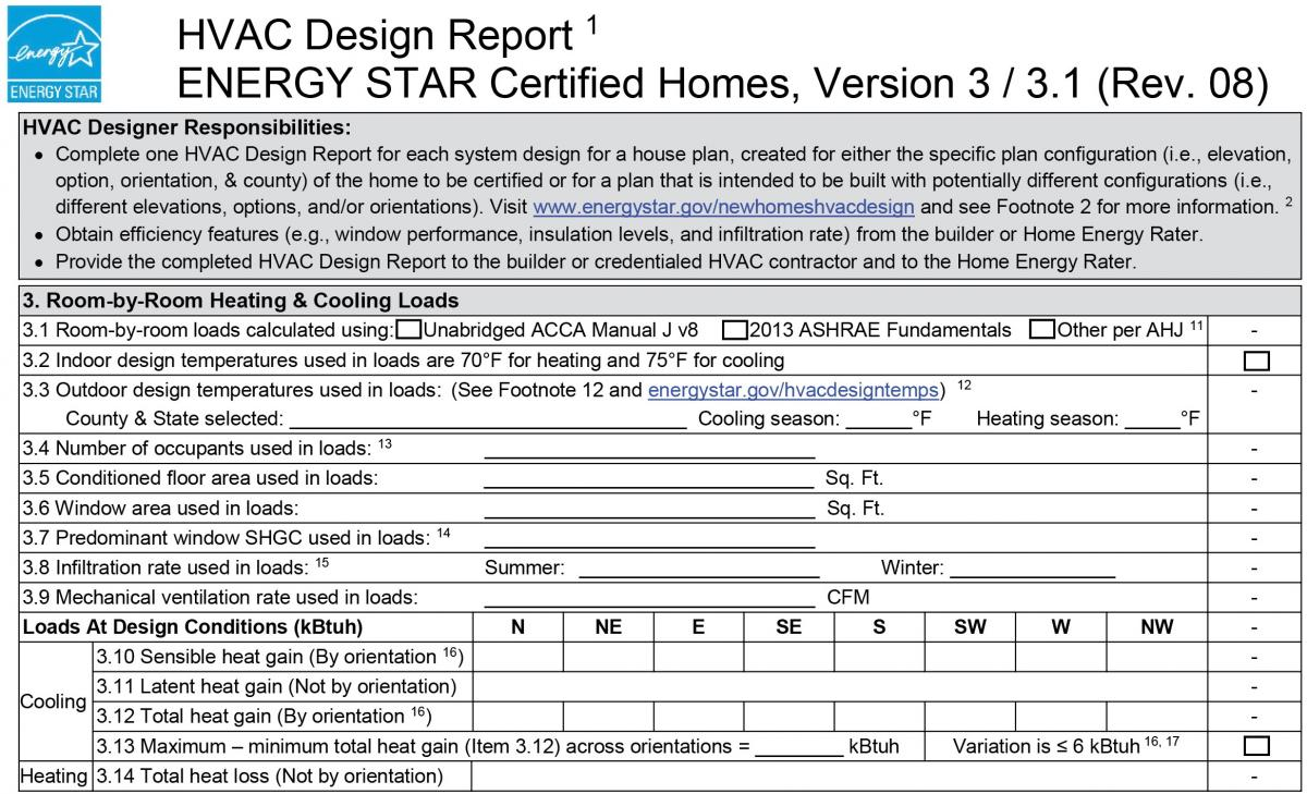ENERGY STAR HVAC Design Report: 3  Room-by-Room Heating