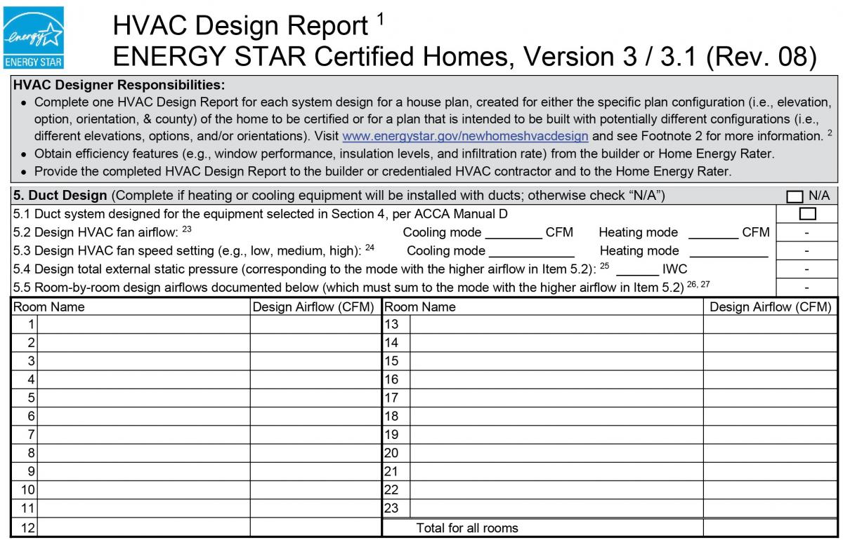 Energy Star Hvac Design Report 5 Duct Design Building