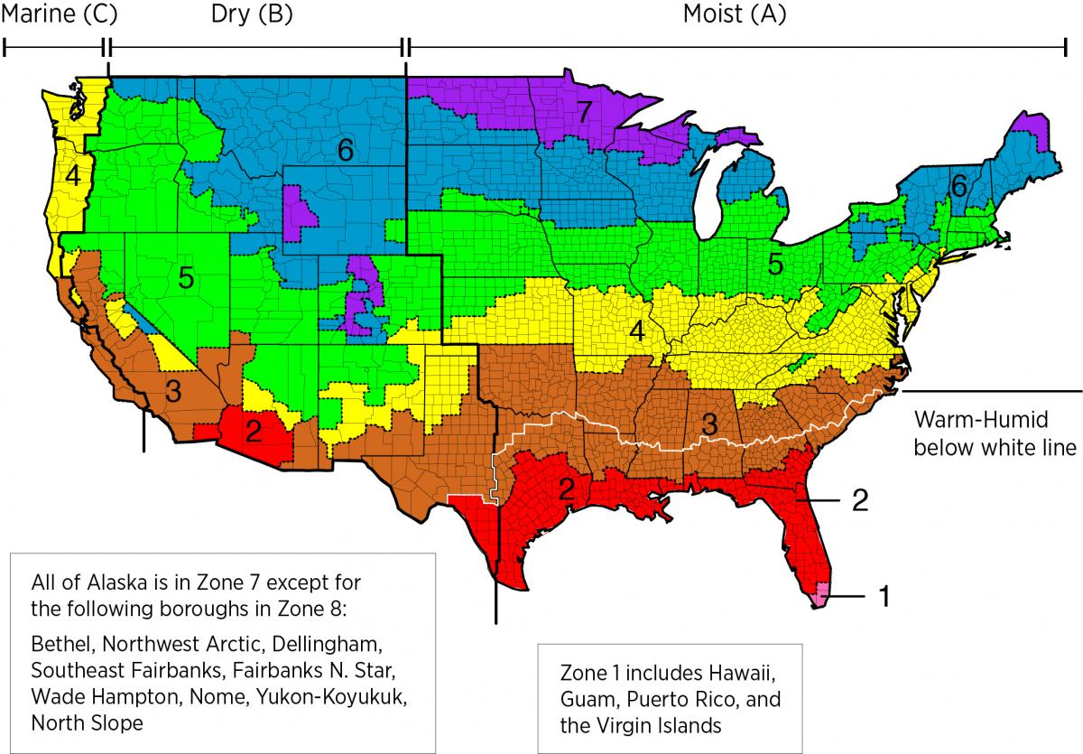 Infiltration Meets ACH Requirements Building America Solution - Map of north america climate