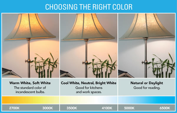 Energy-efficient lighting options are available in a wide range of color choices.