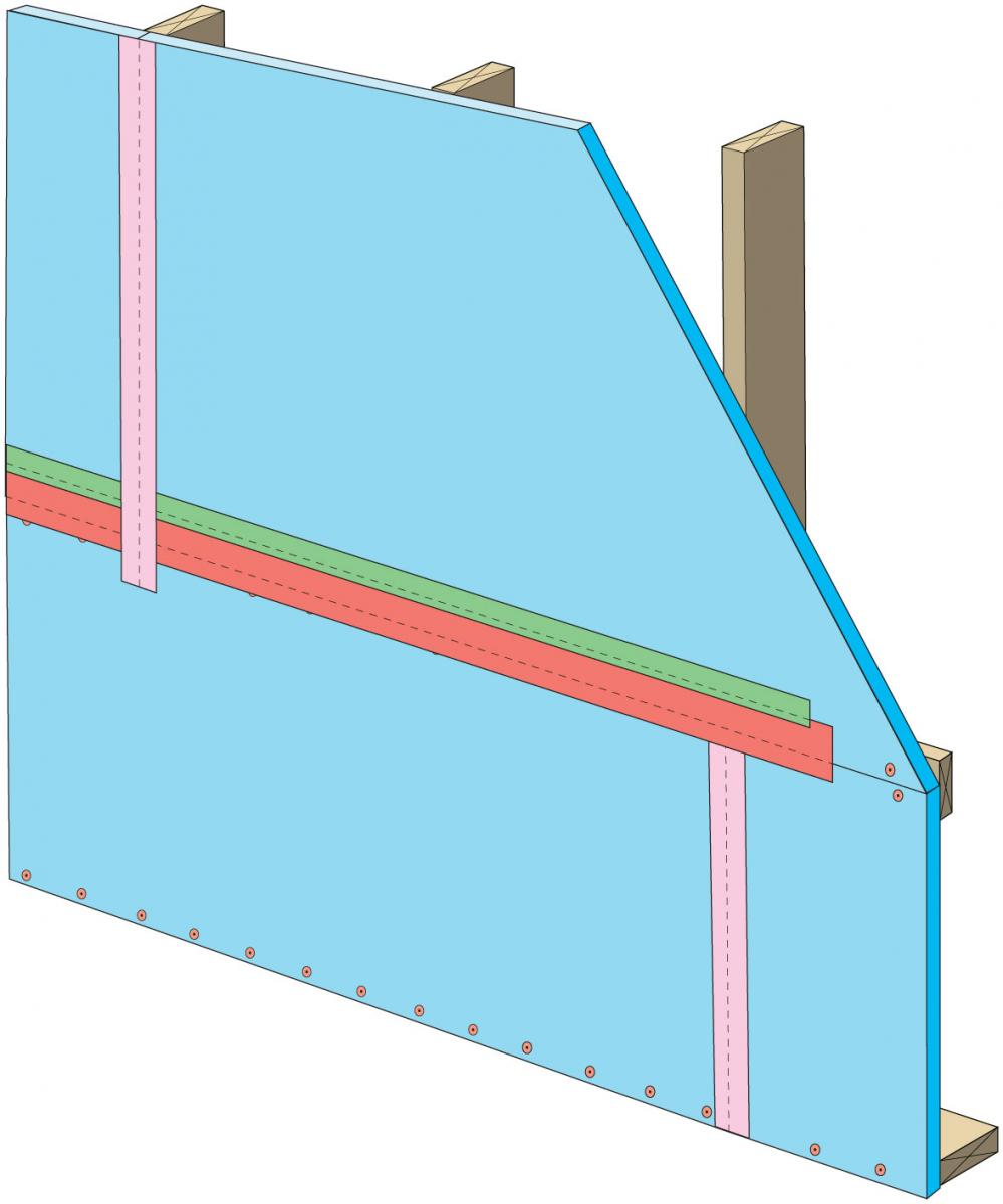 "Clean taping areas and install 3"" tape on vertical joint of upper insulation overlapping the horizontal joint"