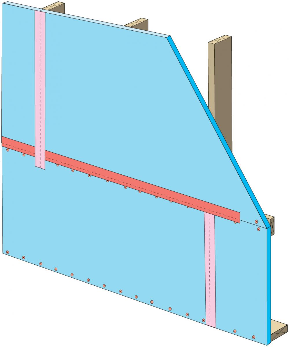 Clean taping areas and isntall tape on vertical joint of upper insulation