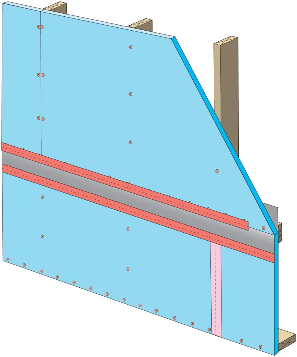 "Install 3"" tape on vertical joint overlapping the horizontal joint"