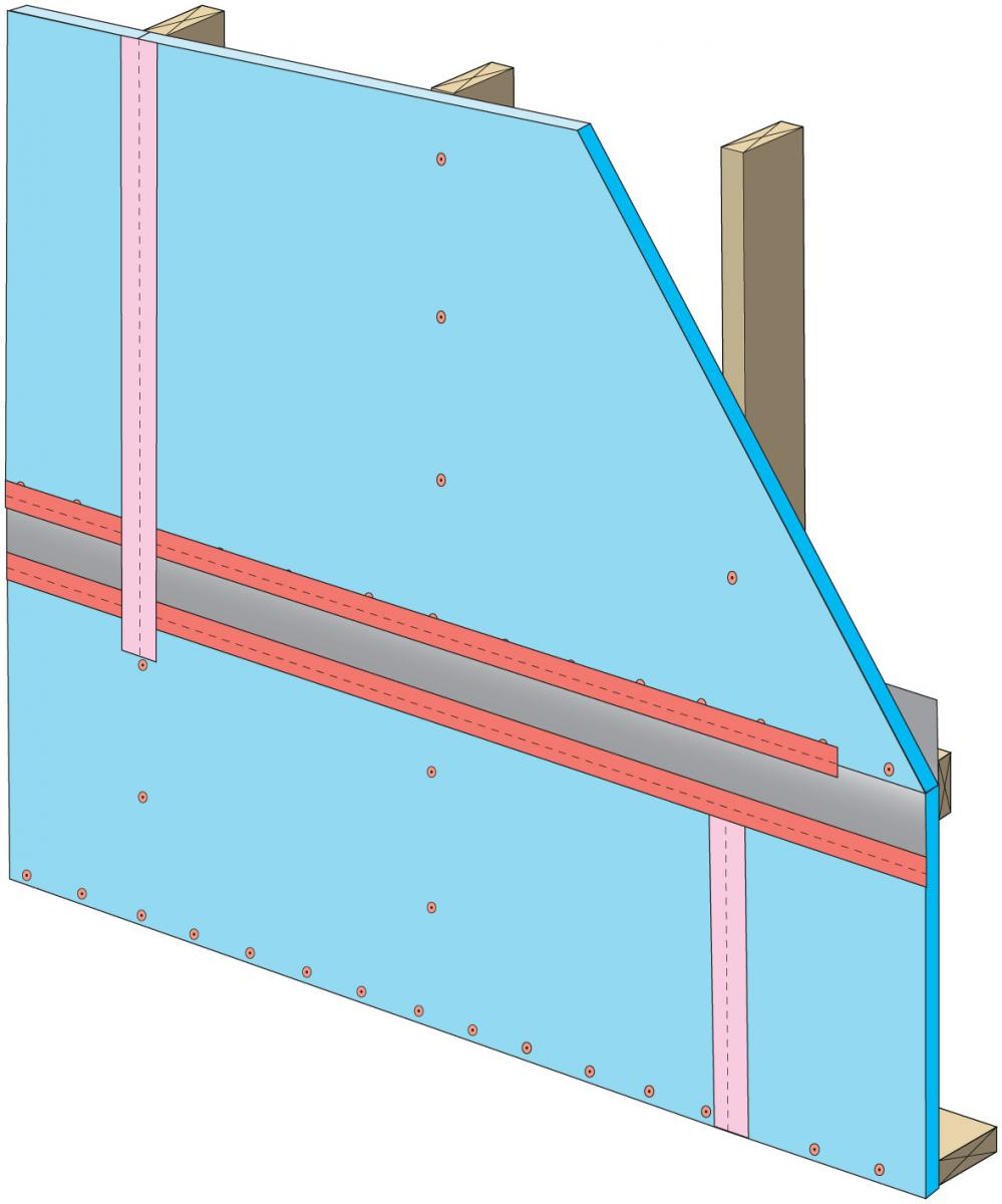 "Clean taping areas, install 3"" tape on vertical joint of upper insulation overlapping the horizontal joint. Press tape firmly to ensure adhesion"