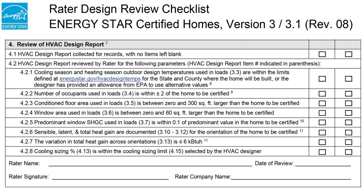 Energy Star Rater Design Review Checklist 4 Review Of