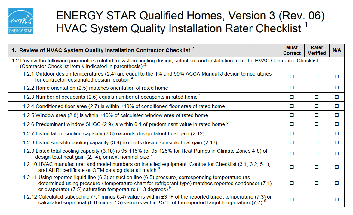 Review Parameters Related to System Cooling Design, Selection, and Installation from the HVAC Contractor Checklist