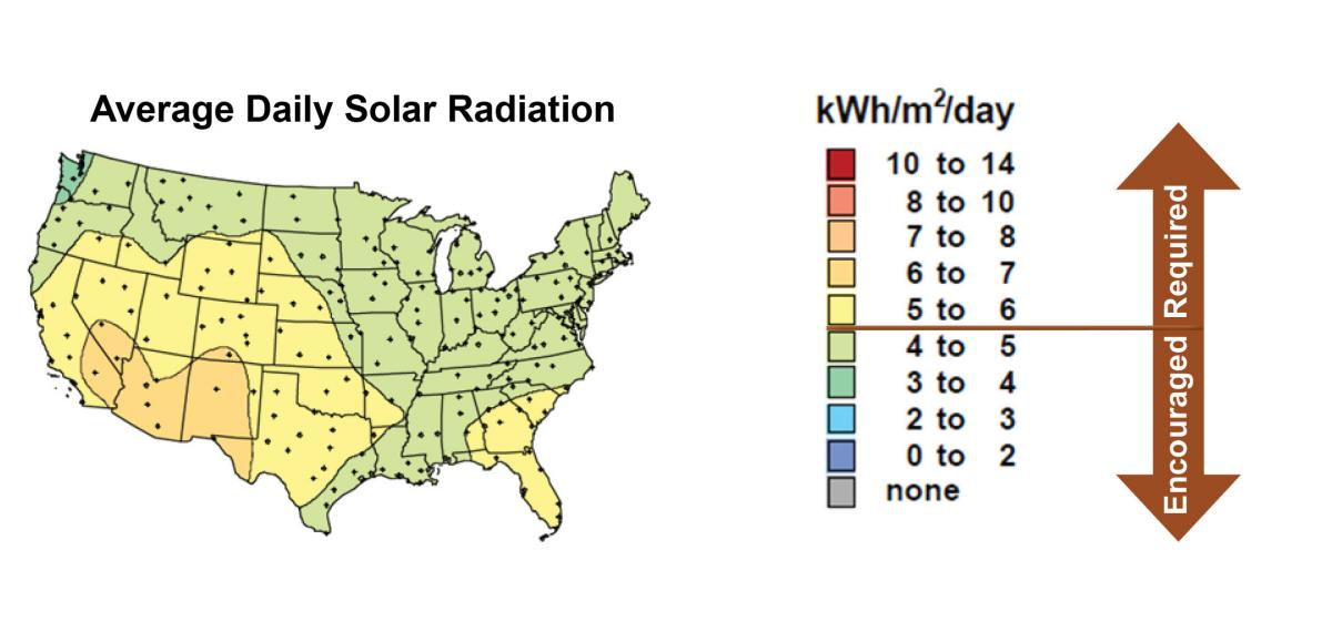 Map of average daily solar radiation