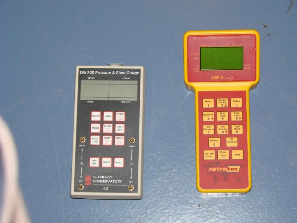 Figure 2: Pressure manometers are used to determine the level of pressurization and rate of leakage when conducting blower door testing and building diagnostics
