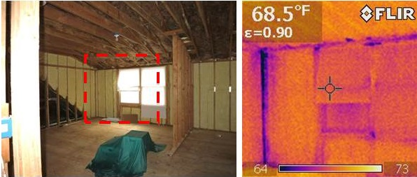 Infrared thermography during depressurization testing reveals air leakage at corner of spray foam-insulated room where wood-to-wood seams in framing were not air sealed