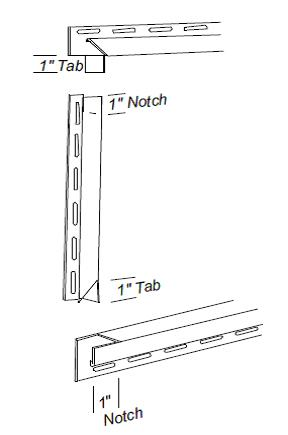 The J Channel Top Side And Bottom Trim Pieces Are Cut To Form Tabs At Ends That Fit Together Around Window Door Frames
