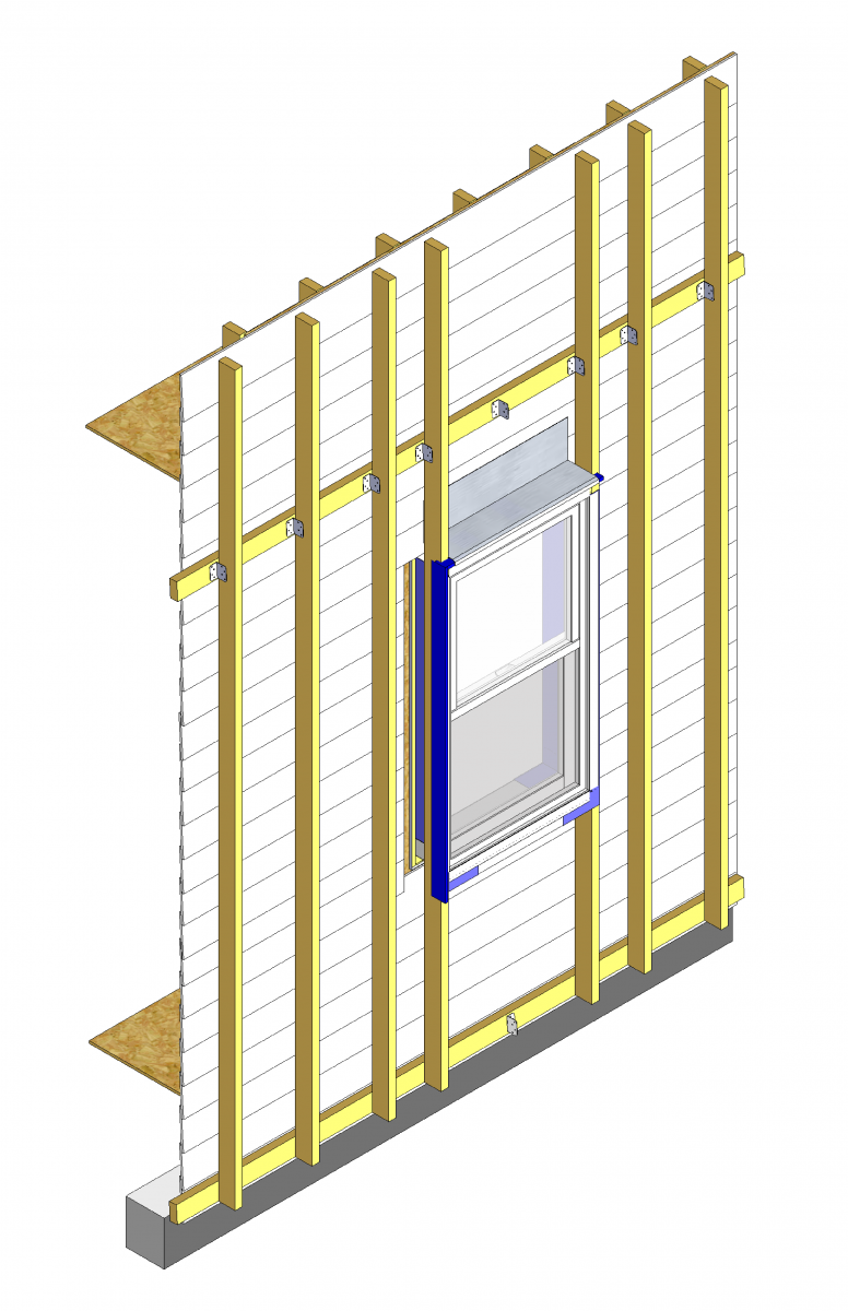 Install head flashing from the face of the existing wall to lap over the head of the new window