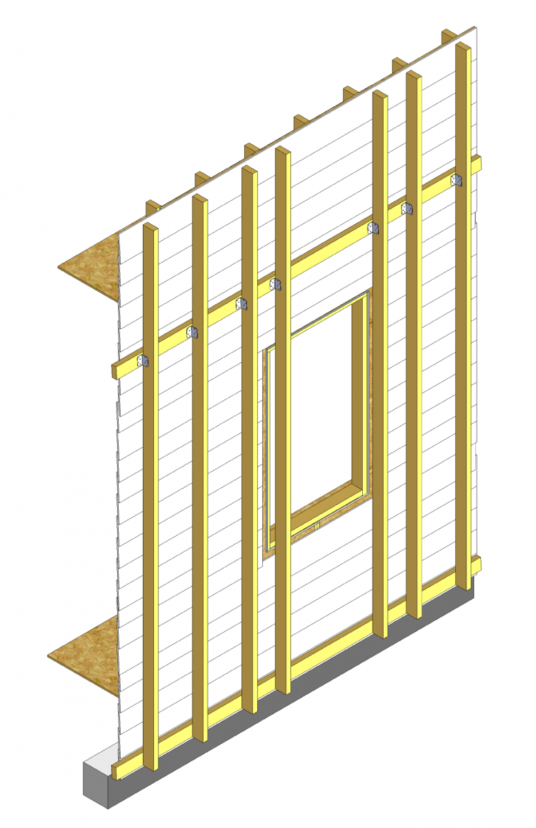 Install the vertical 2x4s, spaced as needed based on structural calculations and siding manufacturer requirements
