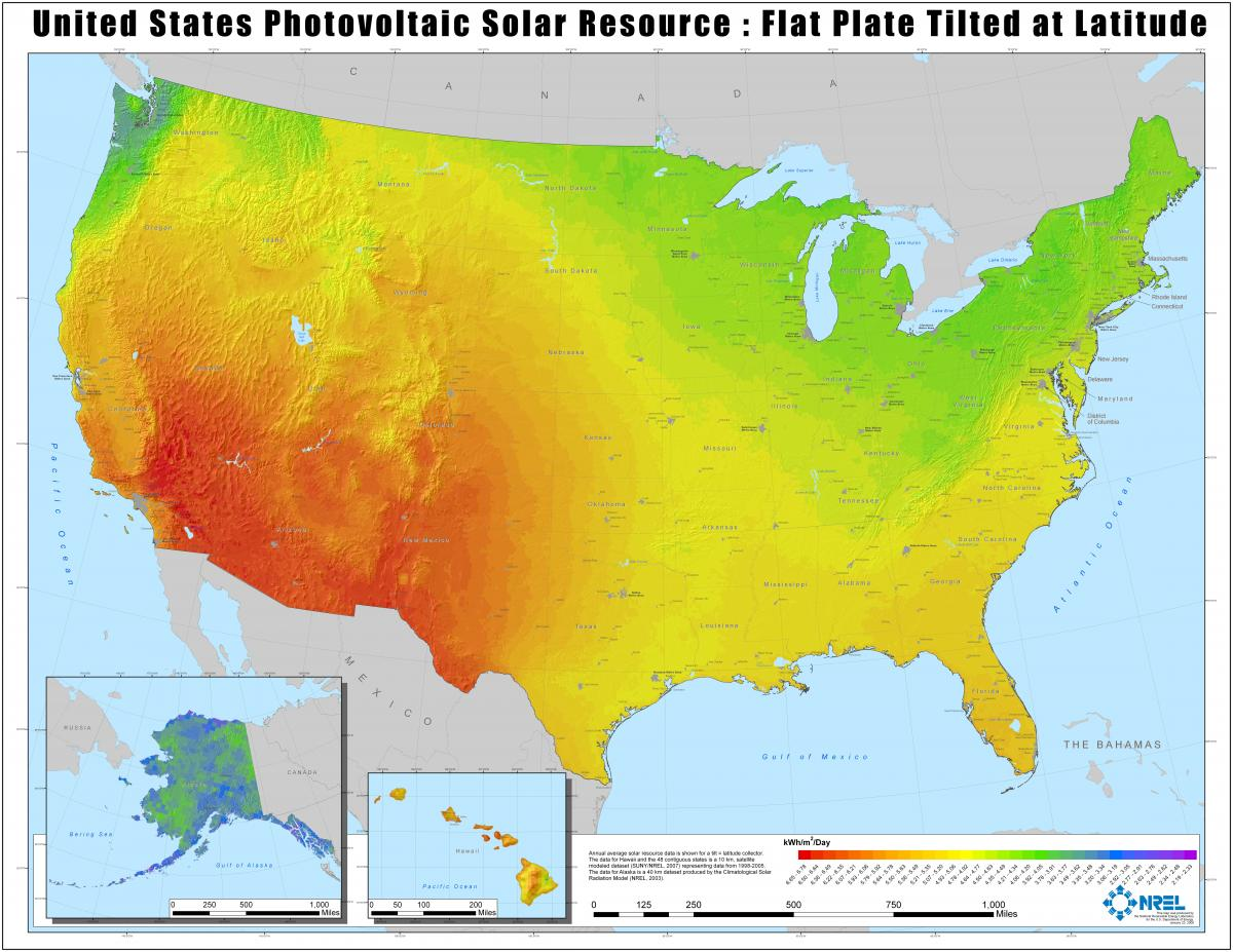 Average annual solar resources in the United States