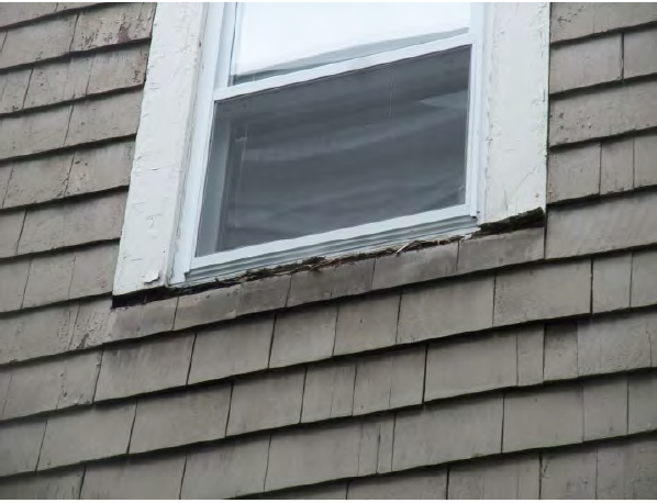 A new window was installed without repairing the failed window sill first