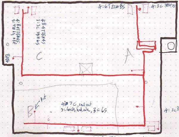 This sketch of the steam piping in a basement shows the boiler and chimney in the center right, steam mains are the red lines, and risers are the red dots