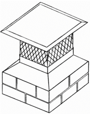 This chimney cover attaches to the outside of the tile liner and has metal screening to prevent animal entry