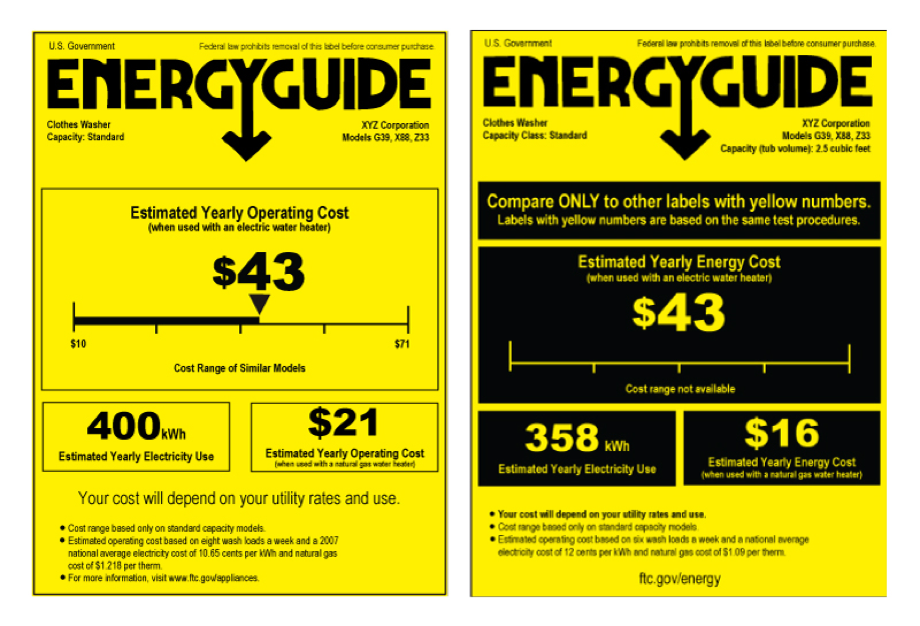 Figure 2. Use the EnergyGuide label to identify and compare energy-efficient clothes washers.