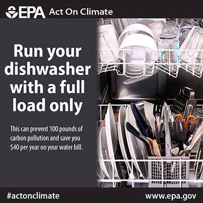 Run the dishwasher with full loads to save money on energy and water bills
