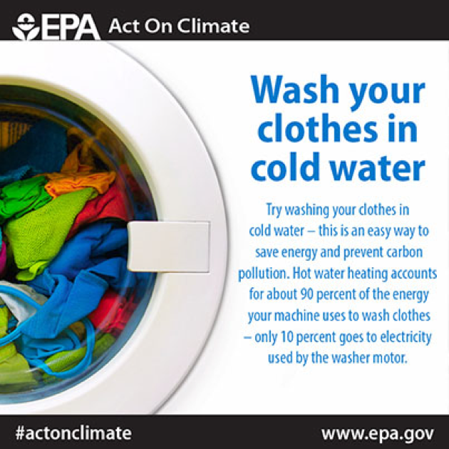 Figure 3. Save money on your energy bills by washing clothes in cold water. (Source: U.S. EPA)
