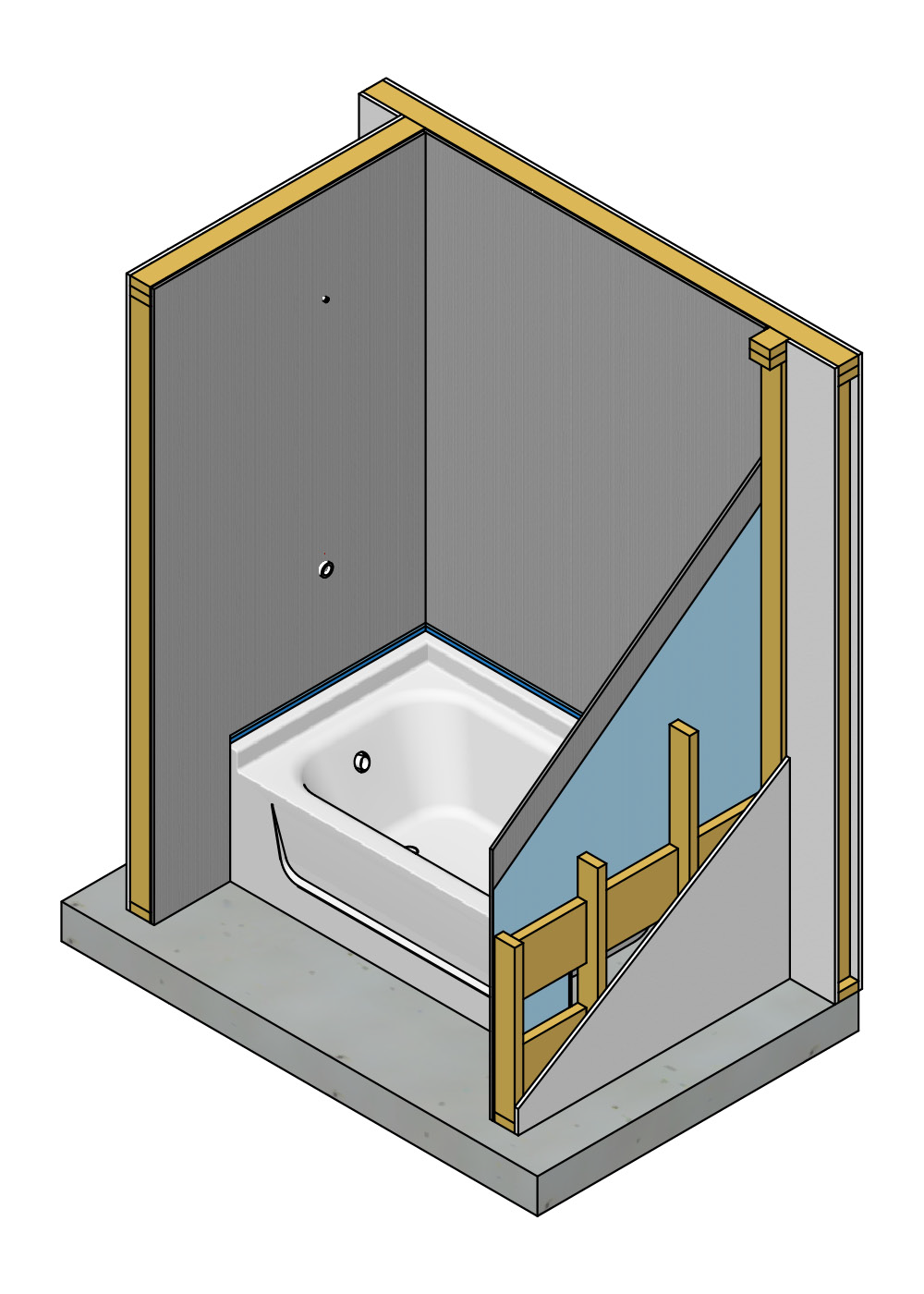 Cement Board Installed to a Tub Surround. This image shows the correct installation of cement board behind a tub enclosure