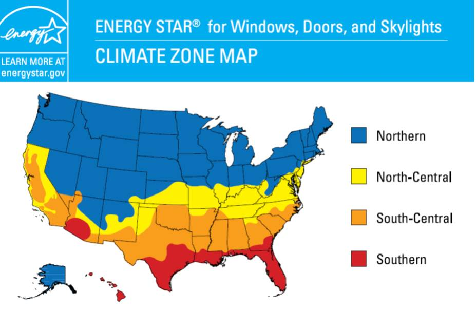ENERGY STAR Climate Zone Map for Windows