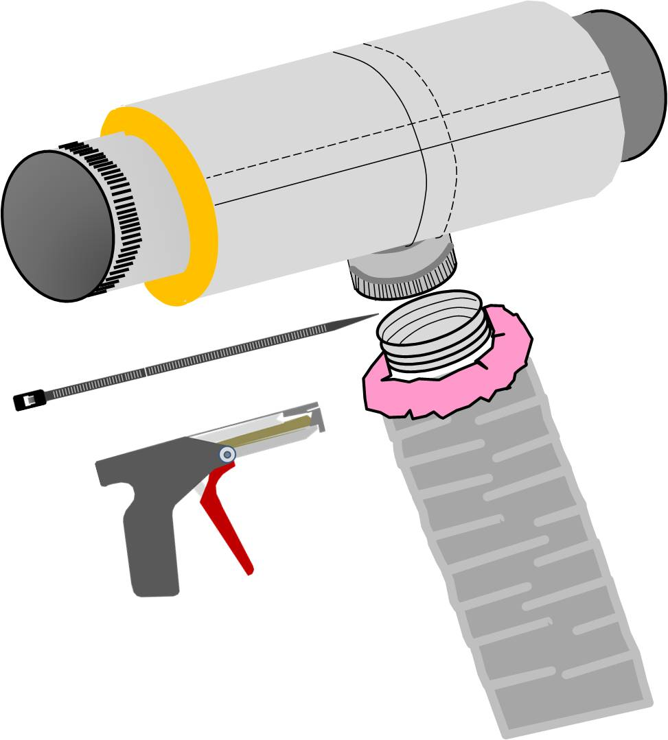 To attach the flex duct to a main trunk duct or any other connection, the flex duct is pulled over the connecting collar at least 2 inches past the raised bead, then the insulation is pulled back.