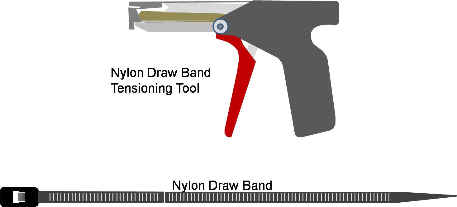 A nylon draw band and tensioning tool are used to secure the inner liner of the pre-insulated flexible duct.