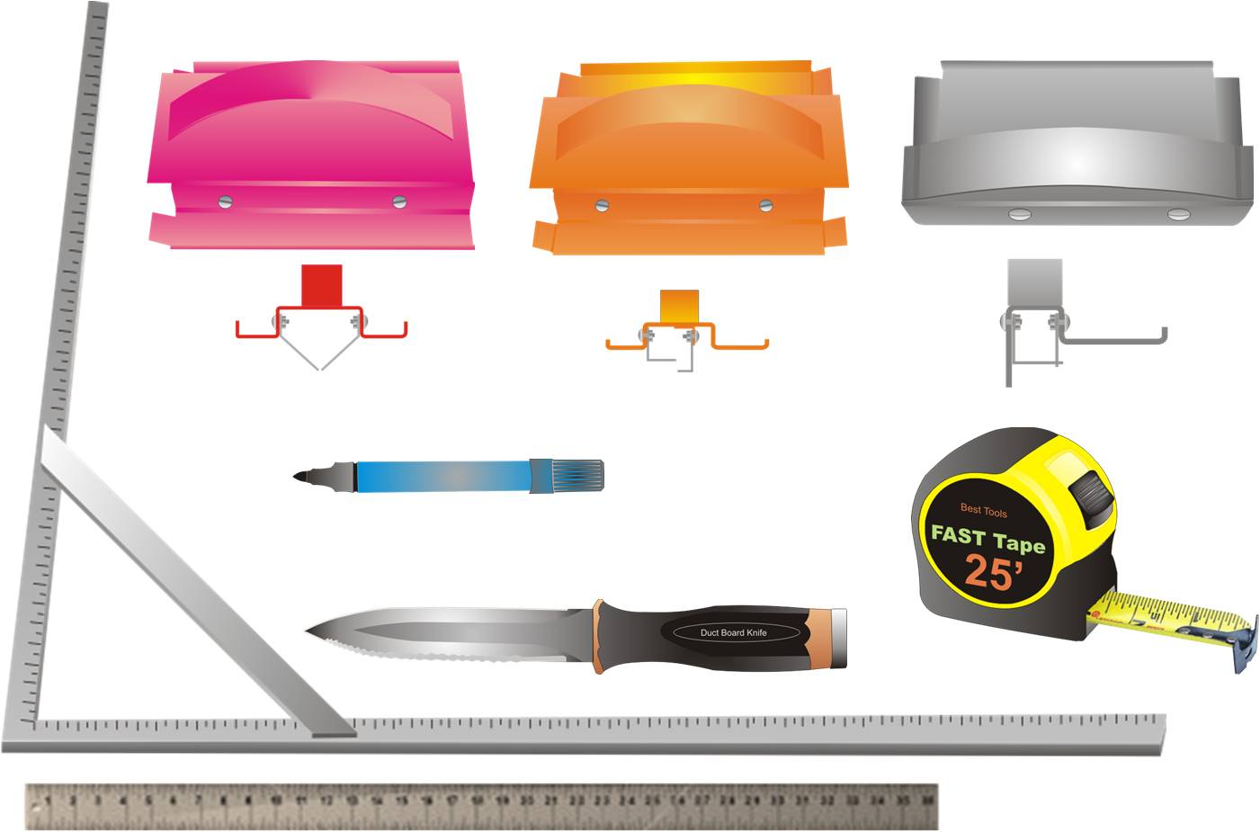 Hand tools for cutting fiber board sheets include a knife, straight edge, and color-coded edge-cutting tools
