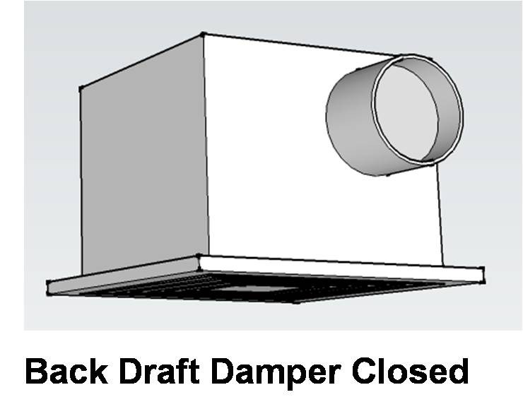The back-draft damper on this exhaust fan is closed to prevent cross contamination