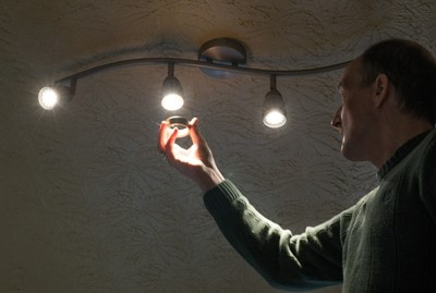LEDs are especially efficient in fixtures that send light in one direction, like track lighting