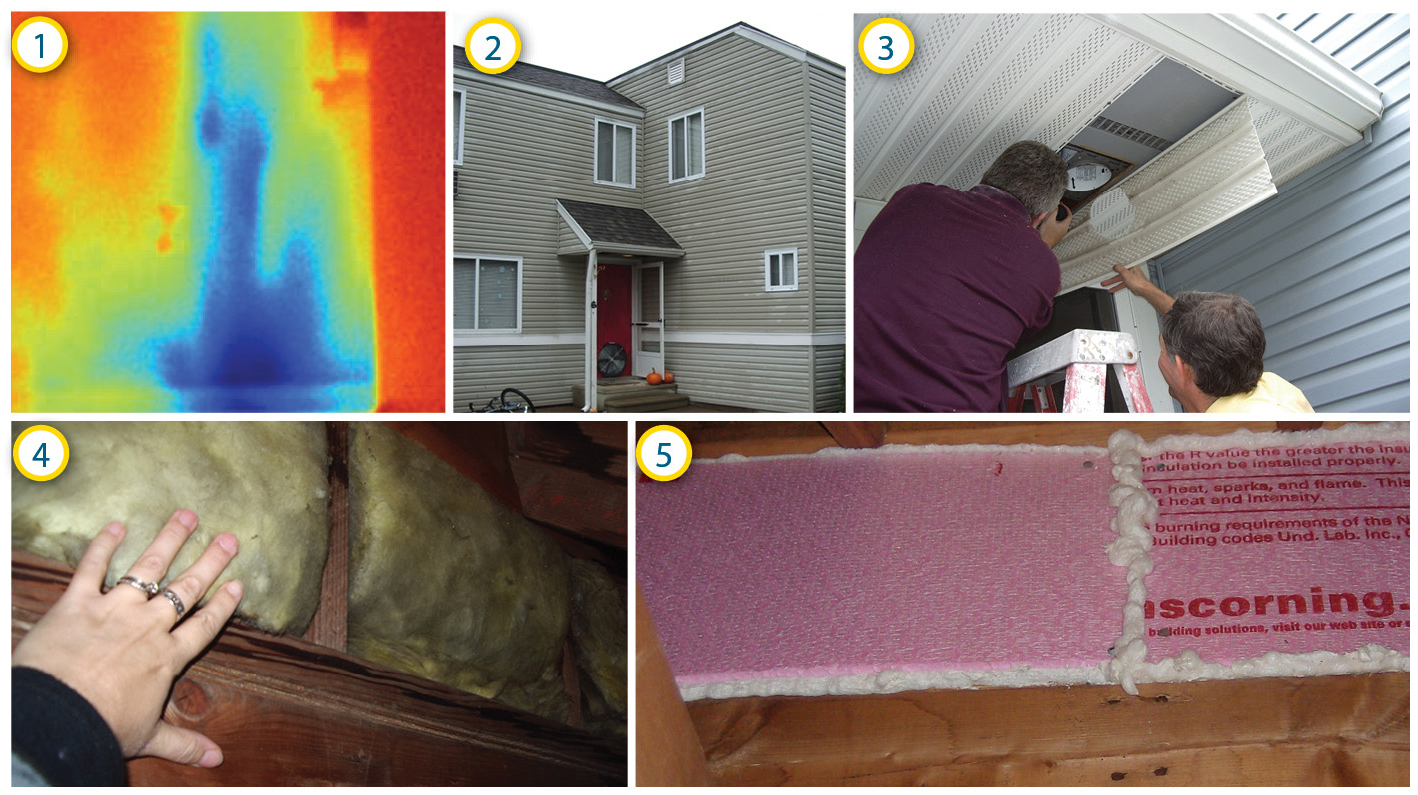 Collage showing air leak in existing porch wall with no air barrier and how air barrier was installed