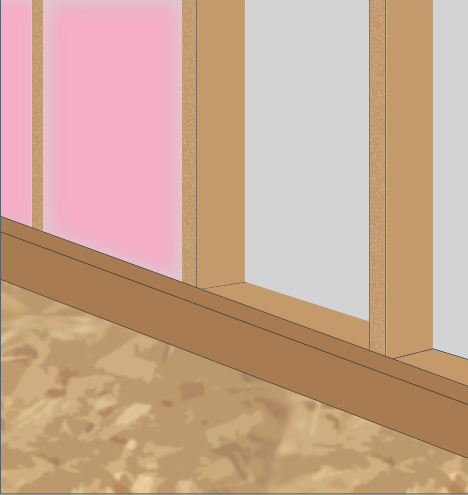 Insulate the porch-attic wall making sure the insulation fully aligns with the inside wall sheathing