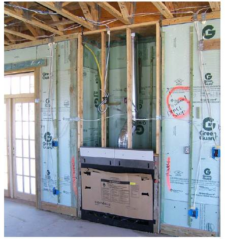 The wall behind the fireplace is an exterior wall and requires a thermal barrier that is continuous with the rest of the wall's insulation