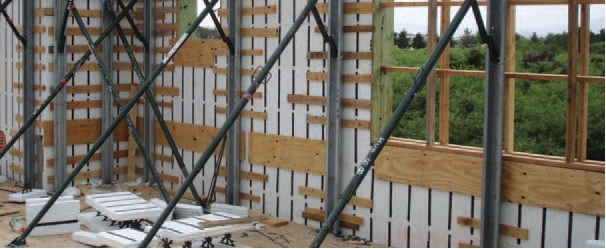 The ICF walls of this home are braced to prepare for pouring the concrete
