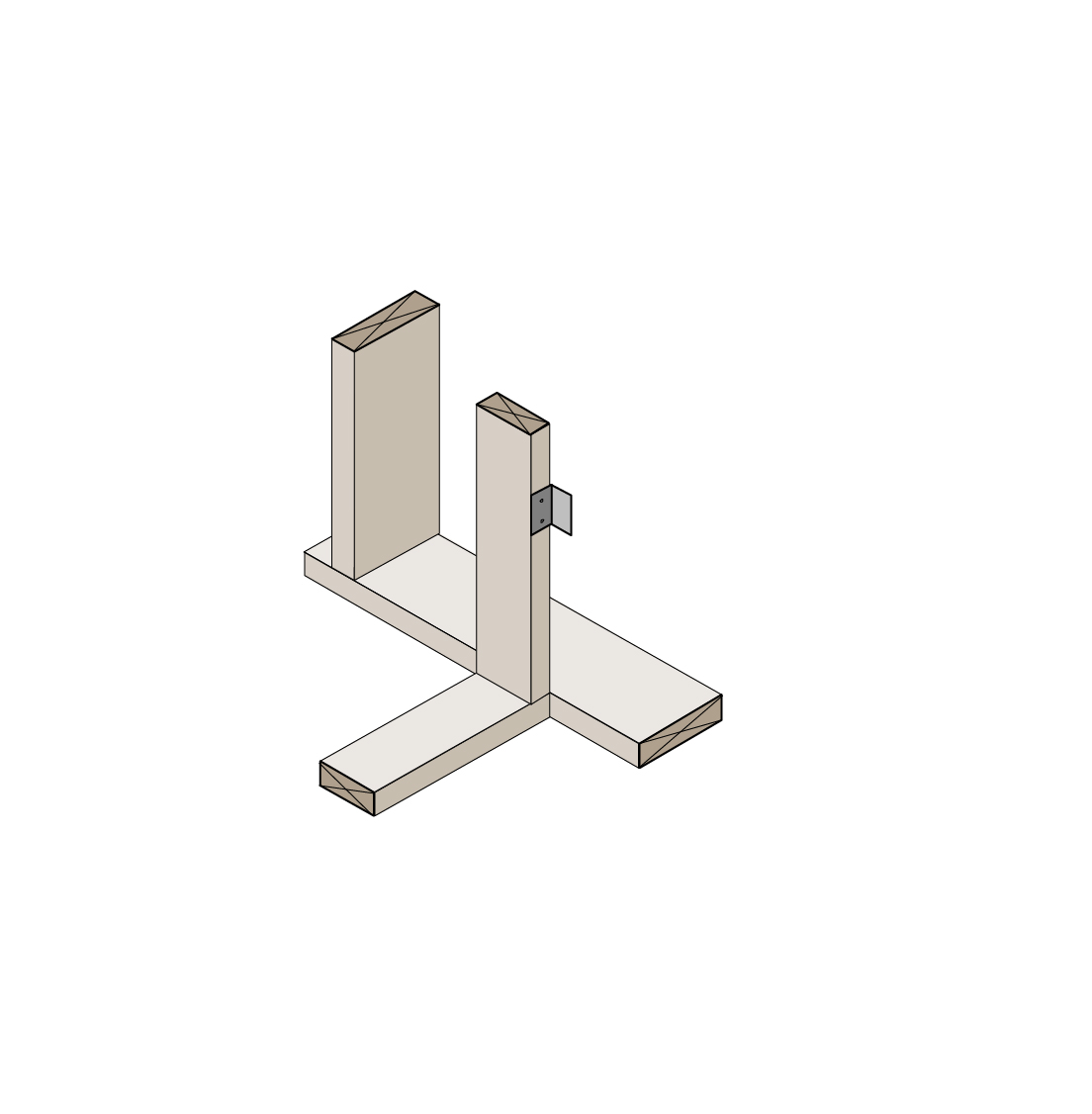 Interior wall attached with top plate metal connector, drywall clips support drywall, side view