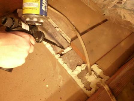 Use caulk, foam, or equivalent material to seal gap between common wall