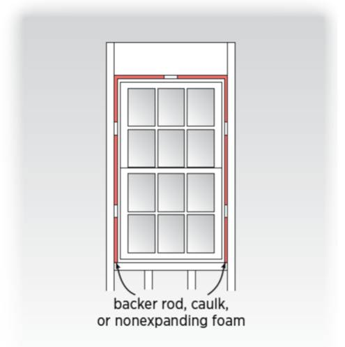 Air seal door and window rough openings with backer rod, caulk, or nonexpanding foam