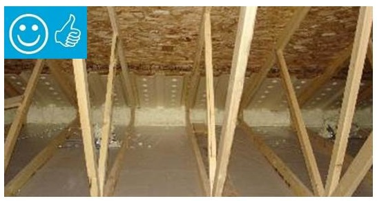 Spray Foam Insulation Applied To Existing Attic Ceilings